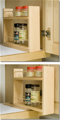 Sliding Spice Rack can be placed inside cabinets as shown. Just slide out for easy access!